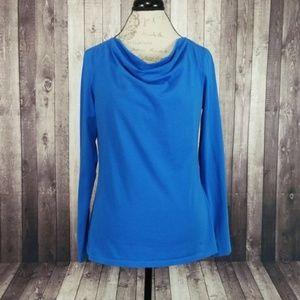 Ann Taylor blue drape neck long sleeve tee